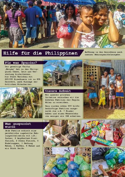 """Abbildung von Flyer """"Hilfe für die Philippinen"""""""