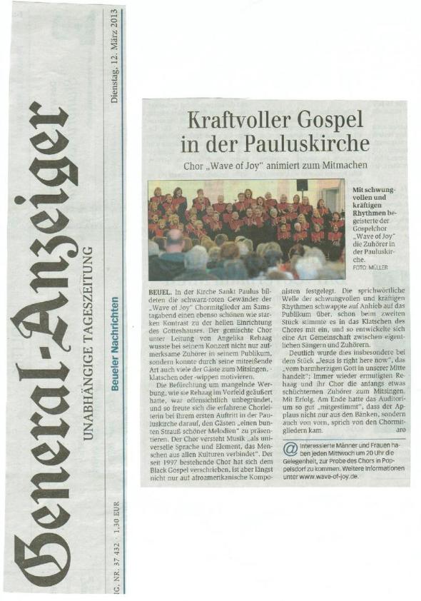 Artikel im Generalanzeiger vom 12.03.2013